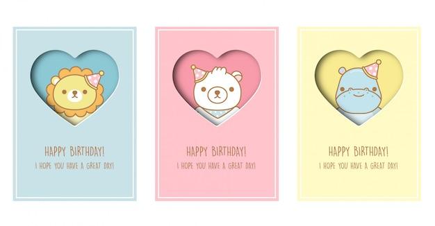 Cartão de chuveiro de bebê, cartão de modelo de aniversário com leão, urso e hipopótamo no estilo de corte de papel. .