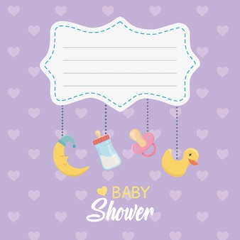 Cartão de chuveiro de bebê com acessórios pendurados