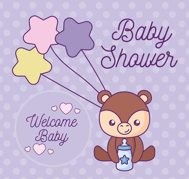 Cartão de chuveiro de bebê com animal fofo urso