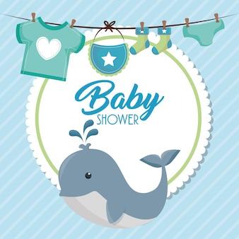 Cartão de chuveiro de bebê com baleia fofa