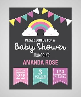 Cartão de chuveiro de bebê com bandeirolas e arco-íris