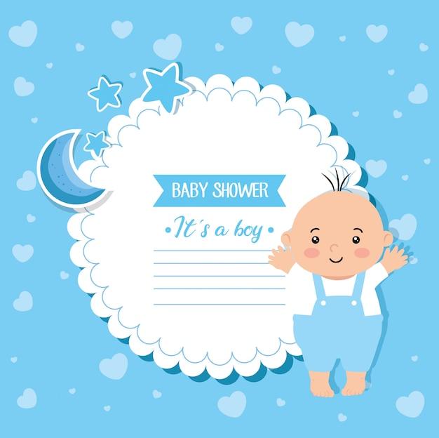 Cartão de chuveiro de bebê com bebê menino e decoração