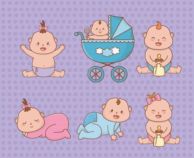 Cartão de chuveiro de bebê com bebês