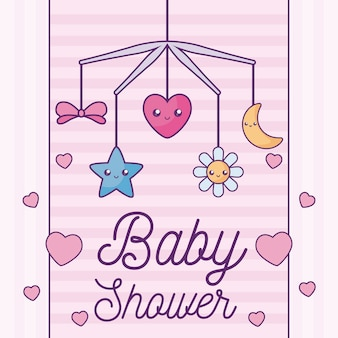Cartão de chuveiro de bebê com berço móvel