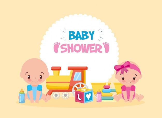 Cartão de chuveiro de bebê com brinquedo de trem