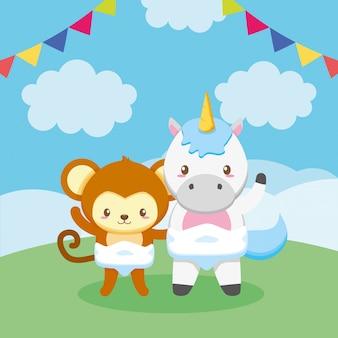 Cartão de chuveiro de bebê com burro e unicórnio