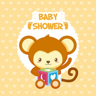 Cartão de chuveiro de bebê com burro