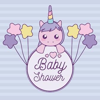 Cartão de chuveiro de bebê com cabeça de unicórnio fofo
