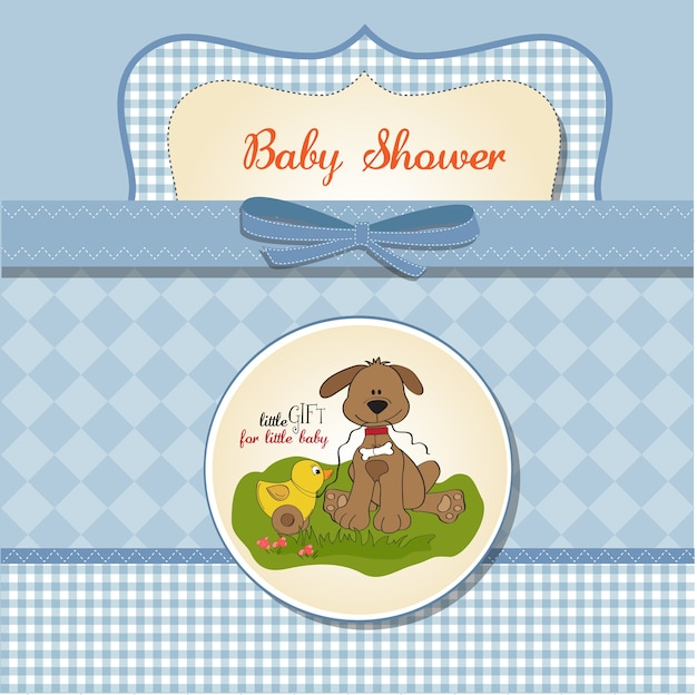 Cartão de chuveiro de bebê com cachorro e pato brinquedo