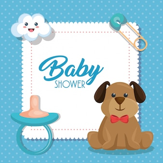 Cartão de chuveiro de bebê com cachorro fofo