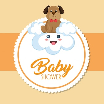 Cartão de chuveiro de bebê com cachorro fofo Vetor grátis