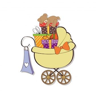 Cartão de chuveiro de bebê com caixas de presente