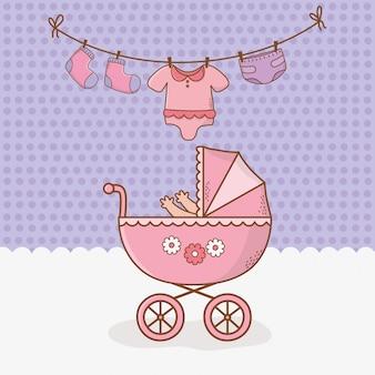 Cartão de chuveiro de bebê com carrinho rosa