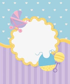 Cartão de chuveiro de bebê com carrinho