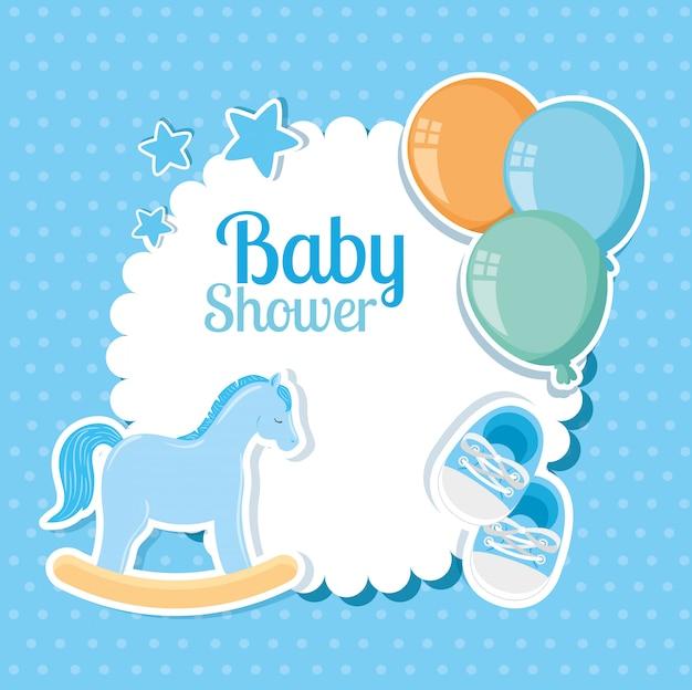 Cartão de chuveiro de bebê com cavalo de madeira e decoração