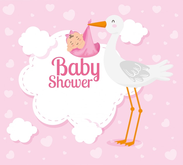 Cartão de chuveiro de bebê com cegonha fofa e decoração