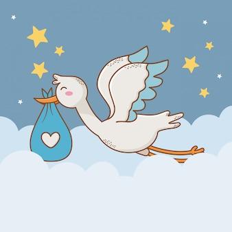 Cartão de chuveiro de bebê com cegonha