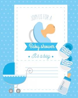 Cartão de chuveiro de bebê com chupeta e decoração