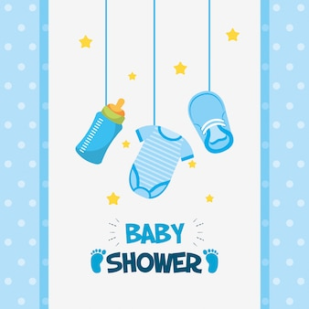 Cartão de chuveiro de bebê com conjunto de ícones de suspensão