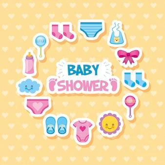 Cartão de chuveiro de bebê com conjunto de ícones
