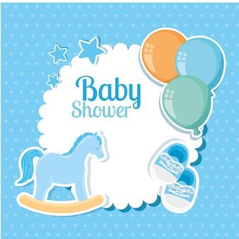 Cartão de chuveiro de bebê com decoração fofa