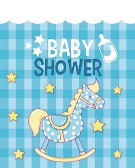 Cartão de chuveiro de bebê com desenhos bonitos