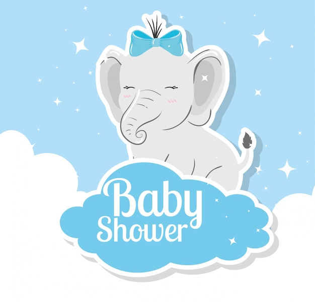 Cartão de chuveiro de bebê com elefante e nuvens