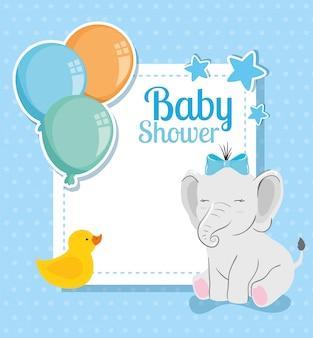 Cartão de chuveiro de bebê com elefante fofo e decoração