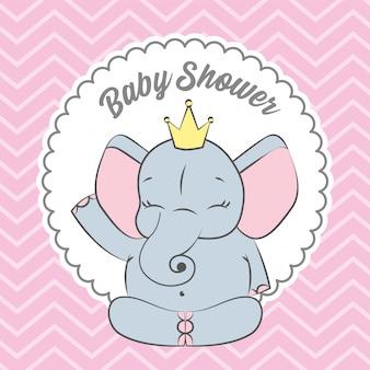 Cartão de chuveiro de bebê com elefante fofo