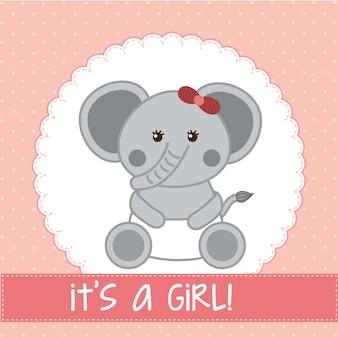 Cartão de chuveiro de bebê com elefante sobre vetor de fundo rosa