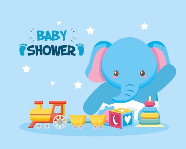 Cartão de chuveiro de bebê com elefante