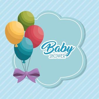 Cartão de chuveiro de bebê com festa de balões de ar