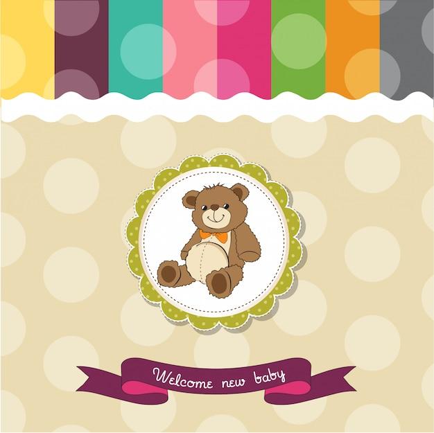 Cartão de chuveiro de bebê com fofo urso de pelúcia brinquedo