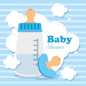 Cartão de chuveiro de bebê com garrafa de leite e elementos