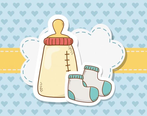 Cartão de chuveiro de bebê com garrafa de leite