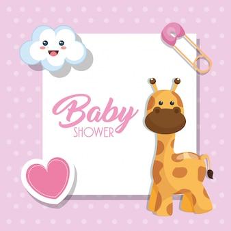 Cartão de chuveiro de bebê com girafa bonitinho