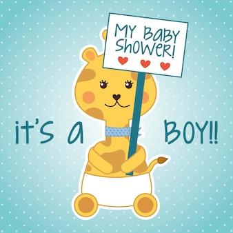 Cartão de chuveiro de bebê com girafa sobre vetor de fundo azul