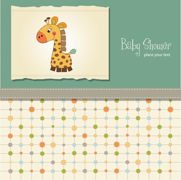 Cartão de chuveiro de bebê com girafa