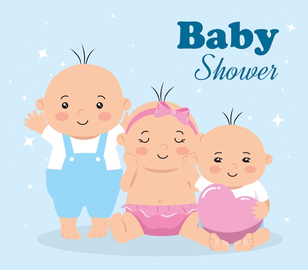 Cartão de chuveiro de bebê com grupo de bebês