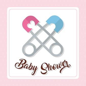 Cartão de chuveiro de bebê com ícone de alfinetes de fralda