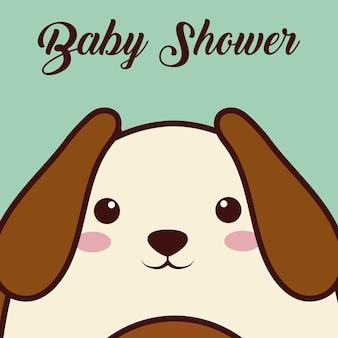 Cartão de chuveiro de bebê com ícone de animal cão kawaii