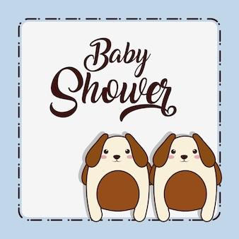 Cartão de chuveiro de bebê com ícone de cães de kawaii animal