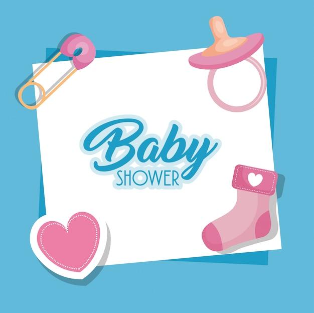 Cartão de chuveiro de bebê com ícones
