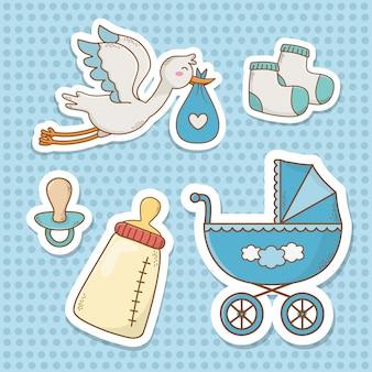Cartão de chuveiro de bebê com itens definidos