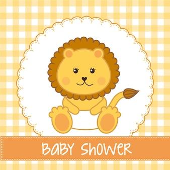 Cartão de chuveiro de bebê com leão sobre vetor de fundo amarelo