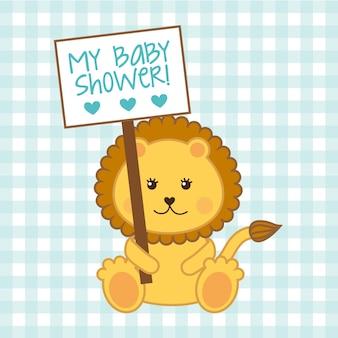 Cartão de chuveiro de bebê com leão sobre vetor de fundo azul