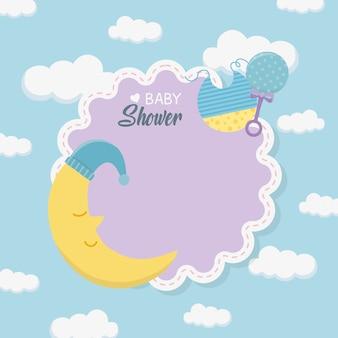 Cartão de chuveiro de bebê com lua dormindo