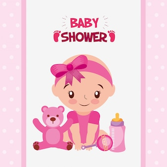Cartão de chuveiro de bebê com menina