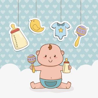 Cartão de chuveiro de bebê com menino bebê