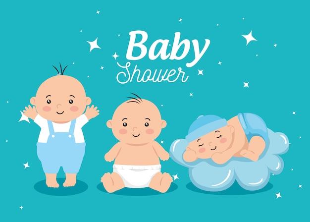 Cartão de chuveiro de bebê com meninos e decoração